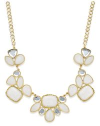 INC International Concepts | Metallic Gold-tone White Stone And Crystal Statement Necklace, Only At Macy's | Lyst