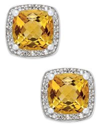 Macy's   Metallic Citrine (1-3/4 Ct. T.w.) And Diamond (1/8 Ct. T.w.) Halo Stud Earrings In Sterling Silver   Lyst