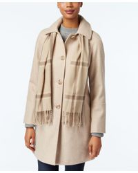 London Fog | Natural Walker Coat With Scarf | Lyst