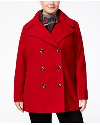 London Fog | Red Plus Size Wool-blend Peacoat With Scarf | Lyst