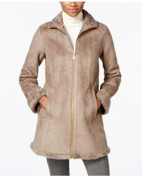 Jones New York | Brown Faux-shearling A-line Walker Coat | Lyst