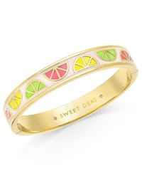 Kate Spade | Metallic Sweet Deal Gold-tone Enamel Bangle Bracelet | Lyst