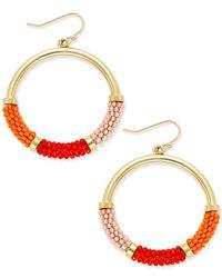kate spade new york | Metallic That's A Wrap Gold-tone Beaded Hoop Earrings | Lyst