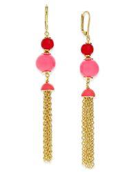 kate spade new york | Metallic That's A Wrap Gold-tone Beaded Tassel Earrings | Lyst