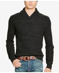 Polo Ralph Lauren | Black Cotton Shawl-collar Sweater for Men | Lyst