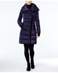 Vera Wang - Blue Velvet-trim Asymmetrical Down Puffer Coat - Lyst
