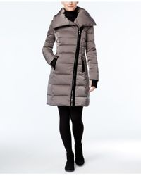 Vera Wang | Gray Velvet-trim Asymmetrical Puffer Coat | Lyst