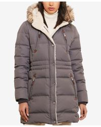 Lauren by Ralph Lauren | Gray Faux-fur-trim Hooded Quilted Down Parka | Lyst