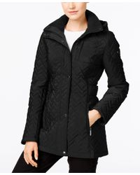 CALVIN KLEIN 205W39NYC - Black Water Resistant Hooded Chevron Quilted Coat - Lyst