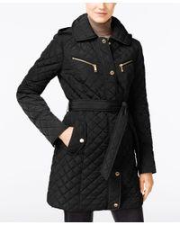Michael Kors Black Hooded Quilted Belted Jacket