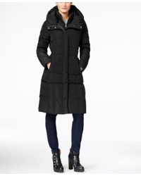 Cole Haan | Black Hooded Long Down Puffer Coat With Vestee | Lyst