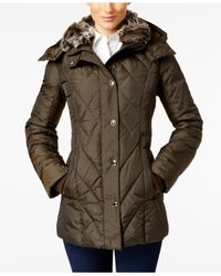London Fog | Green Faux-fur-collar Quilted Down Coat | Lyst