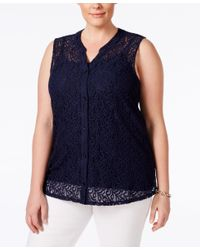 Style & Co. - Black Plus Size Lace Sleeveless Blouse, Only At Macy's - Lyst