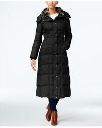 London Fog | Black Faux-fur-collar Down Maxi Coat | Lyst