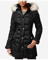 Betsey Johnson | Black Faux-fur-trim Quilted Puffer Coat | Lyst
