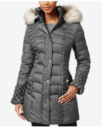 Betsey Johnson | Gray Faux-fur-trim Quilted Puffer Coat | Lyst