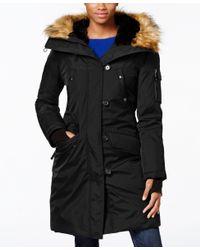 S13/nyc | Black Faux-fur-trim Hooded Down Parka | Lyst