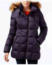 Marc New York | Blue Faux-fur-trim Quilted Down Coat | Lyst