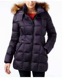 Marc New York | Blue Faux-fur-trim Hooded Quilted Down Coat | Lyst