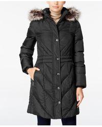 London Fog | Black Faux-fur-trim Hooded Puffer Coat | Lyst