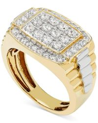 Macy's | Metallic Men's Diamond Cluster Two-tone Ring (1 Ct. T.w.) In 10k Yellow And White Gold | Lyst