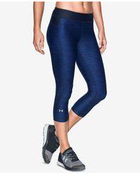 Under Armour | Blue Heatgear Printed Cropped Leggings | Lyst