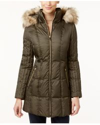 INC International Concepts | Green Faux-fur-trim Quilted Puffer Coat | Lyst