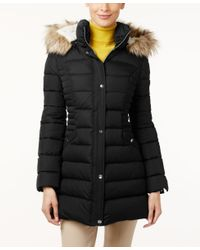INC International Concepts | Black Faux-fur-trim Hooded Puffer Coat, Only At Macy's | Lyst
