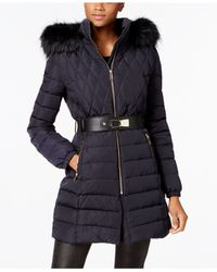 Ivanka Trump | Blue Faux-fur-trim Contrast-quilted Belted Puffer Coat | Lyst