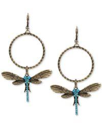 Betsey Johnson | Metallic Gold-tone Blue Crystal Dragonfly Gypsy Hoop Earrings | Lyst