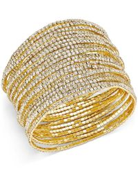 ABS By Allen Schwartz - Metallic Gold-tone Pave Crystal Stretch Bracelet Set - Lyst