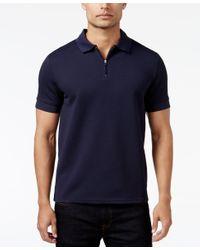 Vince Camuto | Purple Men's Waffle-knit Quarter-zip Polo for Men | Lyst