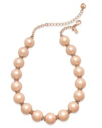 kate spade new york | White Rose Gold-tone Pink Imitation Pearl Collar Necklace | Lyst