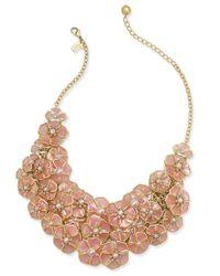"kate spade new york | Metallic 18"" Gold-tone Imitation Pearl Floral Bib Necklace | Lyst"