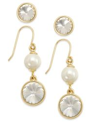 Charter Club - Metallic Gold-tone 2-pc. Set Crystal Studs And Pearl Drop Earrings, Only At Macy's - Lyst