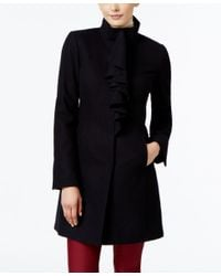 T Tahari | Black Wool-blend Ruffled Walker Coat | Lyst