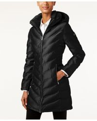 Calvin Klein | Black Hooded Chevron Water-resistant Down Puffer Coat | Lyst