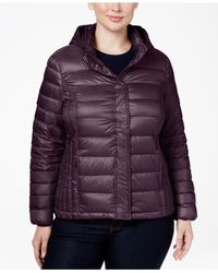 32 Degrees | Purple Plus Size Hooded Packable Down Puffer Coat | Lyst