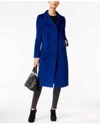 Jones New York | Blue Wing-collar Maxi Coat | Lyst