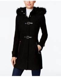 Ivanka Trump | Black Faux-fur-trim Buckled Walker Coat | Lyst
