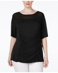 INC International Concepts - Black Plus Size Illusion Ruched Top, Only At Macy's - Lyst