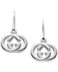 Gucci | Metallic Women's Sterling Silver Interlocking G Hook Earrings Ybd22332100100u | Lyst
