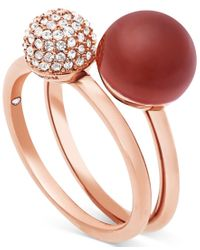 Michael Kors - Metallic Rose Gold-tone 2-pc. Set Stone And Crystal Pave Stack Rings - Lyst
