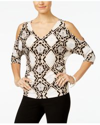 INC International Concepts | White Printed Cold-shoulder Blouse, Only At Macy's | Lyst