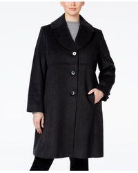 Jones New York   Black Plus Size Empire-waist Wool-blend Walker Coat   Lyst
