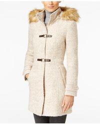 Ivanka Trump | Natural Faux-fur-trim Buckled Coat | Lyst
