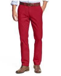 Tommy Hilfiger Red Custom Fit Casual Chino Pants for men