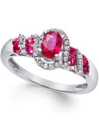 Macy's | Red Ruby (7/8 Ct. T.w.) And Diamond (1/6 Ct. T.w.) Twist Ring In Sterling Silver | Lyst