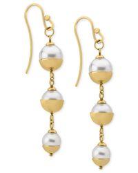 Majorica   Metallic 18k Vermeil Imitation Pearl Triple Drop Earrings   Lyst