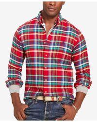 Polo Ralph Lauren   Red Men's Plaid Twill Sport Shirt for Men   Lyst